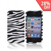 Apple Verizon/ AT&amp;T iPhone 4, iPhone 4S Rubberized Hard Case Zebra - Black/White