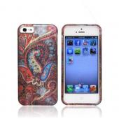 Apple iPhone 5 Rubberized Hard Case - Red/ Blue Enticing Peacock