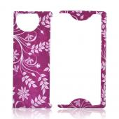 Kyocera Echo M9300 Rubberized Hard Case - White Vines/ Leaves on Magenta