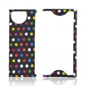 Kyocera Echo M9300 Rubberized Hard Case - Rainbow Polka Dots on Black