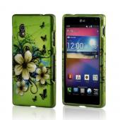 White Hawaiian Flowers on Green Rubberized Hard Case for LG Optimus G (AT&amp;T)