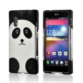 Black/ Silver Panda Rubberized Hard Case for LG Optimus G (AT&amp;T)