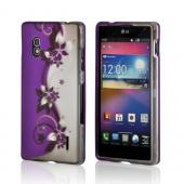Purple Flowers/ Vines on Silver Rubberized Hard Case for LG Optimus G (AT&amp;T)