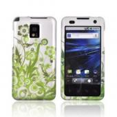 T-Mobile G2X Rubberized Hard Case - Green Vines &amp; Flowers on Gray