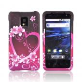 T-Mobile G2X Rubberized Hard Case - Hot Pink/Purple Flowers &amp; Heart
