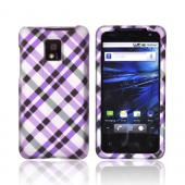 T-Mobile G2X Rubberized Hard Case - Purple &amp; Black Plaid