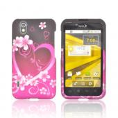 LG Marquee LS855 Rubberized Hard Case - Hot Pink/ Purple Flowers &amp; Hearts
