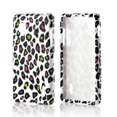 Rainbow Leopard on White Rubberized Hard Case for LG Optimus G (Sprint)