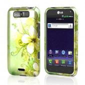 LG Viper 4G LTE/ LG Connect 4G Rubberized Hard Case - Hawaiian Flowers on Green