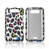 LG Viper 4G LTE/ LG Connect 4G Rubberized Hard Case - Rainbow Leopard on Silver