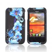 T-Mobile Mytouch Rubberized Hard Case - Blue Flowers on Black