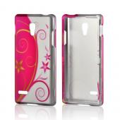 Hot Pink/ Silver Flowers & Vines Rubberized Hard Case for LG Optimus L9