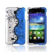 LG Escape Rubberized Hard Case - Black Vines on Silver/ Blue