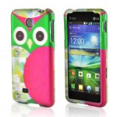 Hot Pink/ Green Owl Rubberized Hard Case for LG Escape