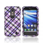 LG Nitro HD Rubberized Hard Case - Purple/ Gray Plaid on Silver