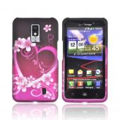 LG Spectrum Rubberized Hard Case - Hot Pink/ Purple Hearts &amp; Flowers