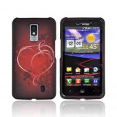 LG Spectrum Rubberized Hard Case - Red Heart on Stars