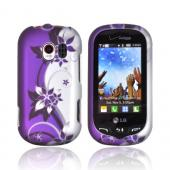 LG Extravert VN271 Rubberized Hard Case - Purple Flowers &amp; Vines on Silver