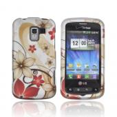 LG Enlighten VS700 Rubberized Hard Case - Tan &amp; Red Flowers on Silver