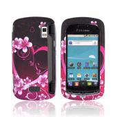 LG Genesis VS760 Rubberized Hard Case - Hot Pink/ Purple Flowers &amp; Heart