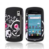 LG Genesis VS760 Rubberized Hard Case - White Skulls &amp; Pink Hearts on Black