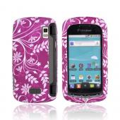 LG Genesis VS760 Rubberized Hard Case - White Vines on Magenta