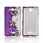 LG Lucid 4G Rubberized Hard Case - Purple Flowers/ Vines on Silver