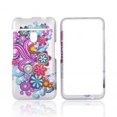 LG Revolution, LG Esteem Rubberized Hard Case - Purple/Blue Swirls on Gray