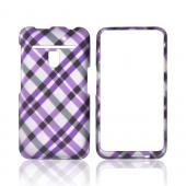 LG Revolution, LG Esteem Rubberized Hard Case - Purple &amp; Black Plaid