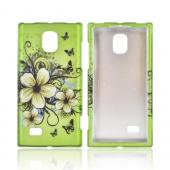 LG Spectrum 2 Rubberized Hard Case - White Hawaiian Flowers on Green