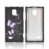 LG Optimus VS930 (Optimus LTE II) Rubberized Hard Case - Purple Butterflies on Black