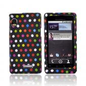 Motorola Droid 2 A955 Rubberized Hard Case - Colorful Polka Dots on Black