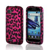 Hot Pink/ Black Leopard Rubberized Hard Case for Motorola Atrix 2