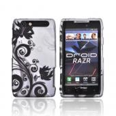 Motorola Droid RAZR Rubberized Hard Case - Black Vines &amp; Flowers on Silver