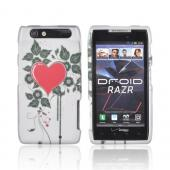 Motorola Droid RAZR Rubberized Hard Case - Red Heart & Vines on Silver