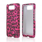 Black Leopard on Hot Pink Rubberized Hard Case for Motorola Droid Ultra/ Droid MAXX