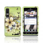Motorola Droid 3 Rubberized Hard Case - White Hawaiian Flowers on Green
