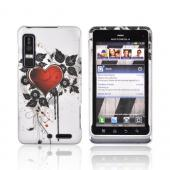 Motorola Droid 3 Rubberized Hard Case - Red Heart & Black Leaves on Silver