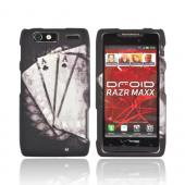 Motorola Droid RAZR MAXX Rubberized Hard Case - Black/ White Aces w/ Laurel Leaf Imprint