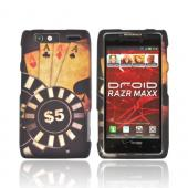 Motorola Droid RAZR MAXX Rubberized Hard Case - Black/ Gold Aces Poker