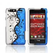 Motorola Droid RAZR MAXX Rubberized Hard Case - Black Vines on Blue/ Silver