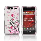 Motorola Droid RAZR MAXX Rubberized Hard Case - Black Vines &amp; Pink Flowers on Gray