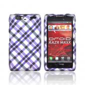 Motorola Droid RAZR MAXX Rubberized Hard Case - Purple Plaid on Silver