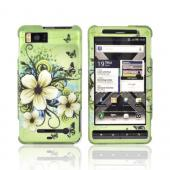 Motorola Droid X MB810/ X2 Rubberized Hard Case - White Hawaiian Flowers on Green