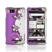 Motorola Droid X MB810/ X2 Rubberized Hard Case - Purple Flowers & Vines on Silver/ Purple