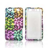 Motorola Atrix HD Rubberized Hard Case - Multi-Colored Artsy Leopard