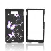 Motorola Triumph Rubberized Hard Case - Purple Butterflies on Black