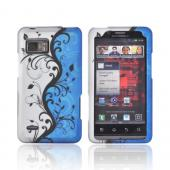 Motorola Droid Bionic XT875 Rubberized Hard Case - Black Vines on Blue/ Silver
