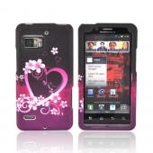 Motorola Droid Bionic XT875 Rubberized Hard Case - Hot Pink/ Purple Flowers &amp; Hearts