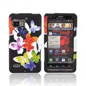 Motorola Droid Bionic XT875 Rubberized Hard Case - Rainbow Butterflies on Black